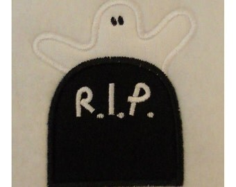 Instant Download Ghost with Headstone Embroidery Machine Applique Design-808