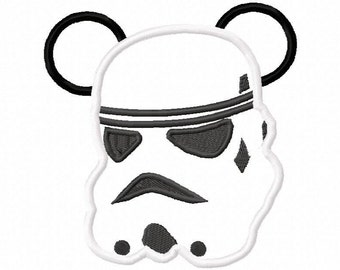 Instant Download Storm Trooper Mouse Ears Embroidery Machine Applique Design-532