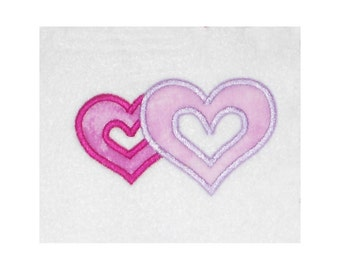 Instant Download Double Open Heart Embroidery Machine Applique Design-852