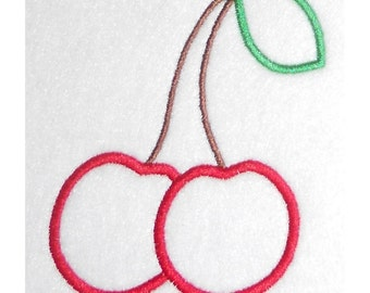 Instant Download Double Cherries Embroidery Machine Applique Design-856