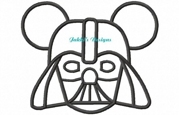 Instant Download Darth Mouse Ears Embroidery Machine Applique Design-530