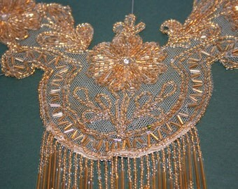 Vintage Glass Gold Beaded  Applique set on netting with 2 1\/2 inch Bead fringe