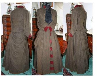 SALE 1800s Early 1900's Wool Herringbone w Burgundy Velvet Trim Original Jacket and Skirt Outfit Steampunk