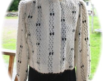 Sale Vintage 50s Style  80s Dress Jacket Black & White Petite