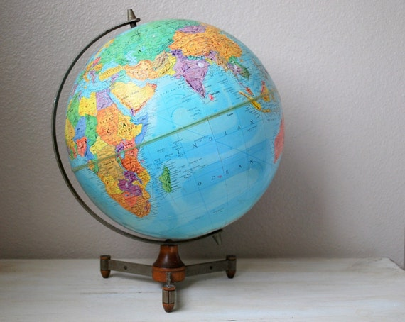 1961 Replogle Stereo Relief Globe with Tripod Stand