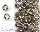 30 Pale Antique Brass 2-PART EYELETS Grommets Fit 4.8mm Hole 3/16 in. Bronze