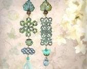 Fantasy Jewelry - Leaf Earrings - Artisan Jewelry - Blue Green Earrings - Bohemian Wedding - Handmade Designer Earrings - Forest Daydream