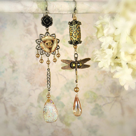 The Wild Garden - Dragonfly Earrings - Garden Party - Flower Earrings - Artisan Jewelry