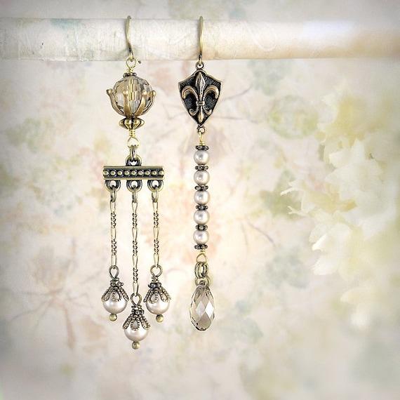 Charmed - Unique Pearl Chandelier Earrings, Bohemian Wedding, Fleur de Lis, Dainty Pearl Earrings, Grey Gray Beige Greige Earrings Neutral