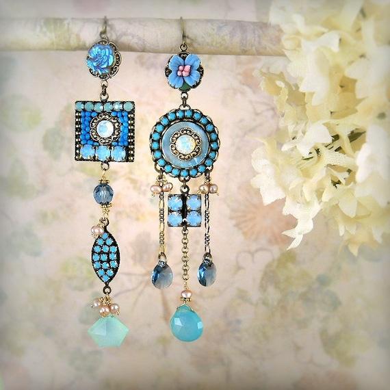 Elysium Asymmetrical Mismatch Earrings - Bohemian Wedding - Boho Chic - Micro Mosaic Earrings - Unique Blue Earrings