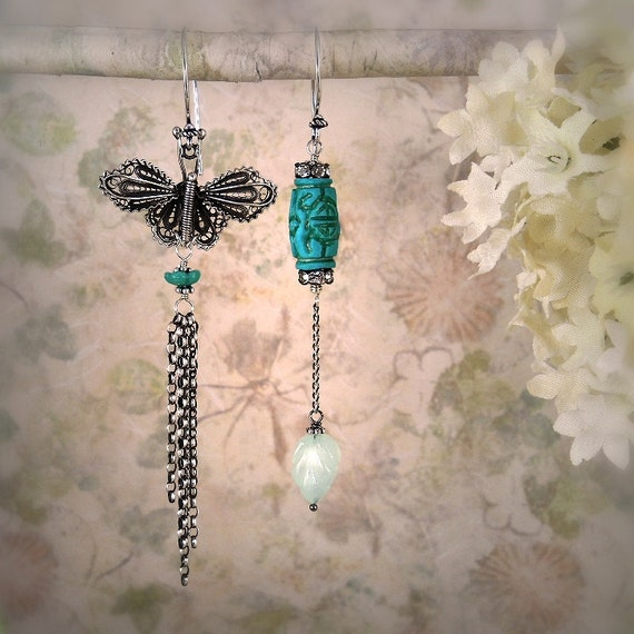 RESERVED for Victoria - Timeless (Butterfly Version) - Asymmetrical Earrings - Turquoise Earrings - Butterfly Earrings - Flower Earrings