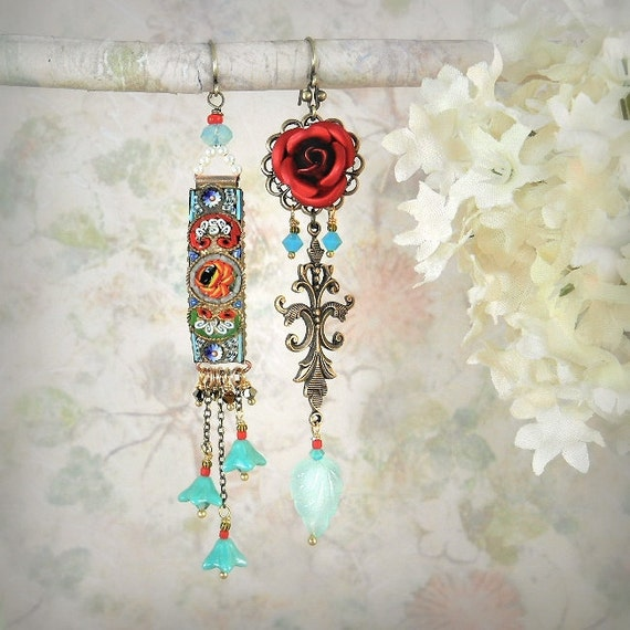Mosaic Garden Asymmetrical Earrings (Red Rose / Aqua Chalcedony Version) - Vintage Micro Mosaic Earrings - Red Rose Earrings
