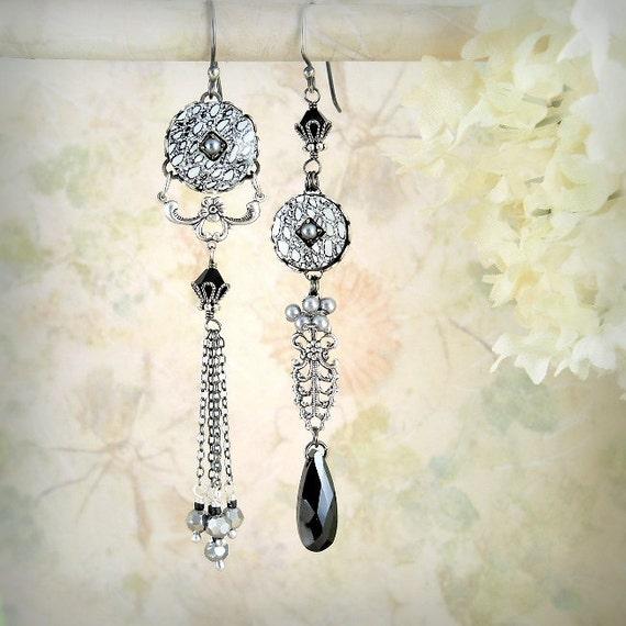 Starry Night, Unique Asymmetrical Earrings Silver Black Gray Grey Earrings Gypsy Bohemian Wedding, Long Artistic Romantic Moonlight Earrings