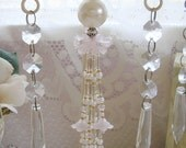 Pale Pink Flower and Pearl Hand Beaded Flower Tassel - Chic Decorative Ornament
