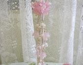 Hand Beaded Decorative Flower Tassel - Pretty Pink - Cottage Chic