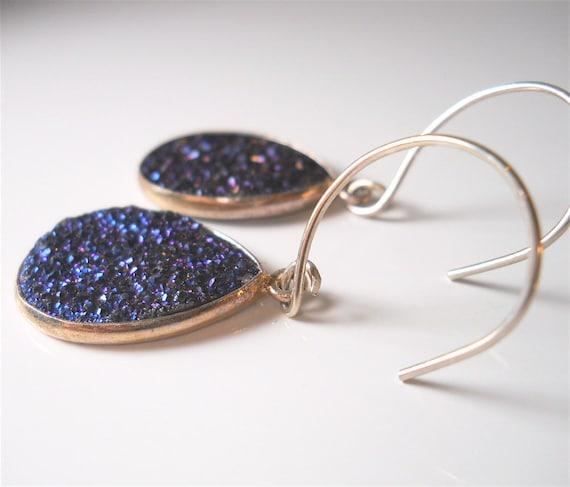 Sparkling Midnight Blue Agate Druzy, Drusy Gemstone Earrings