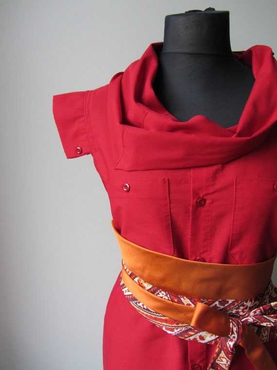 Cowl Neck Upcycled Boyfriend Tunic in Cherry Red with Necktie Belt - made from man's uniform shirt and neckties - Womens Upcycled Clothing