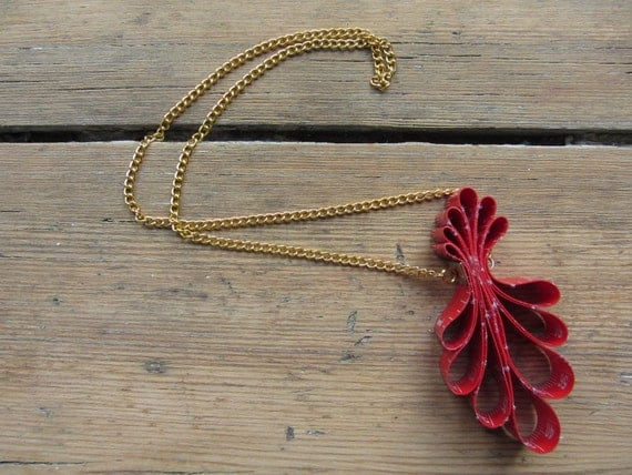 SALE / Red Tape Measure Pendant Necklace / Jewelry Necklaces Pendant / Upcycled Recycled / by Garage Couture