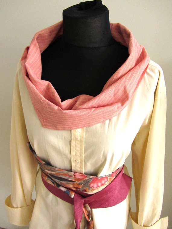 Upcycled Clothing - Long Sleeve Cowl Neck Boyfriend Tunic in Yellow and Orange Pink with Necktie Belt - made from menswear - Womens Clothing