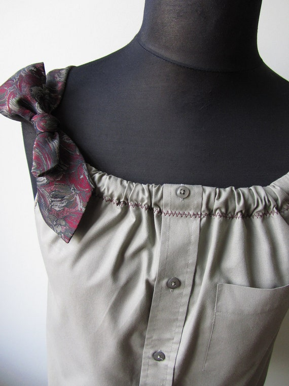 Upcycled Clothing - Boyfriend Tank Top in Dark Beige with Two Changeable Necktie Shoulder Straps - Womens Upcycled Clothing