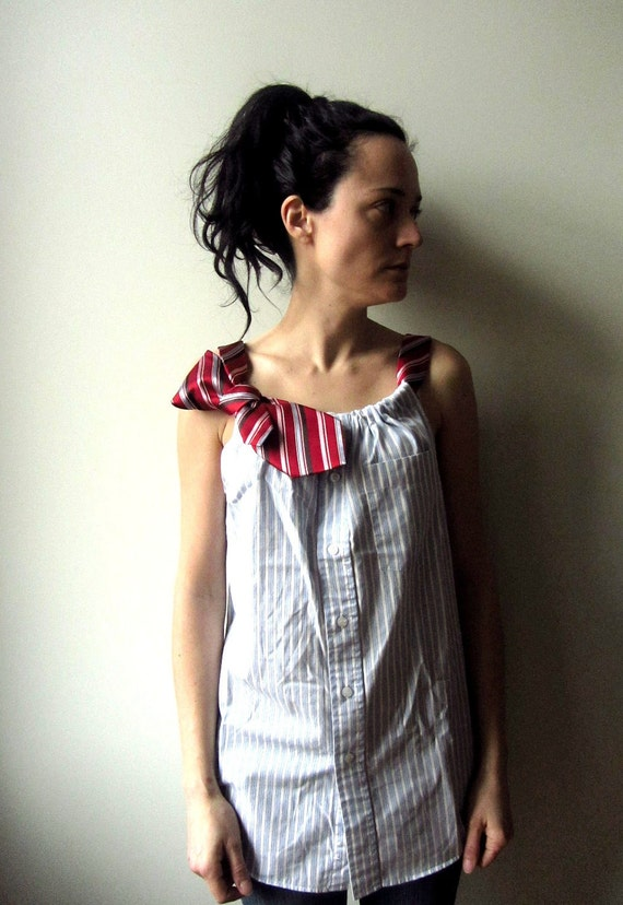 RESERVED for kensjen - Boyfriend Tank Top in Blue and White Stripes with Two Necktie Shoulder Straps - Womens Upcycled Clothing