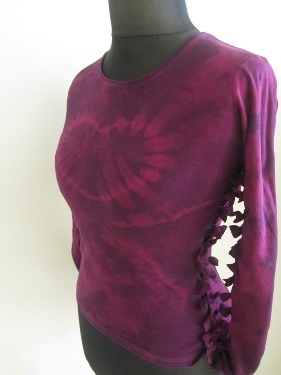 Purple Tie Dye Heart Shirt with Bow Tie Detailing - made from upcycled tshirts - Womens Upcycled Clothing SIZE MEDIUM