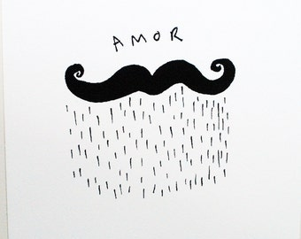 Illustrated Amor Moustache Giclee print, wall art A4 210mm x 297mm