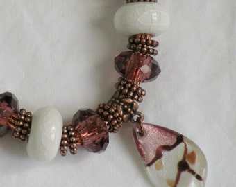 Amethyst and White Dione Copper Lantern Chain Necklace and Earring Set