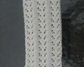 Skinny Scarflette, Hand Knit Scarf, Lace Pattern  - Ivory White - Mix and Match