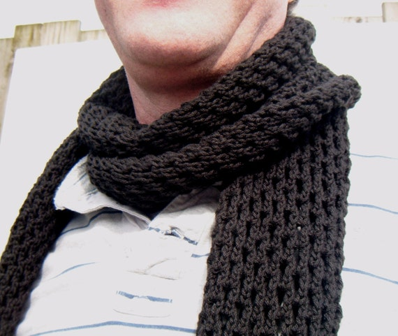 Mens Scarf Hand Knit Openwork Pattern Black Hole Scarf
