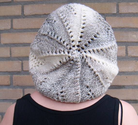 Tam Beret Hat, Knit Sea Urchin Pattern - Dark Taupe, Ivory White Ecru, Soft Nougat Brown melee