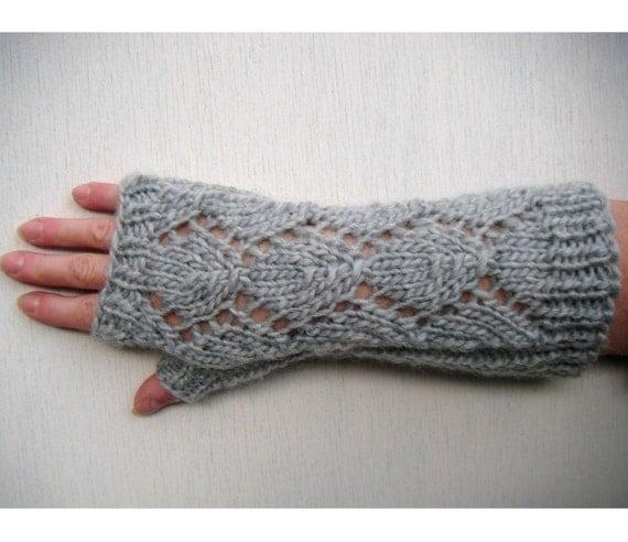Long Knit Fingerless Gloves, Openwork Diamond, Men and Women - Light Grey