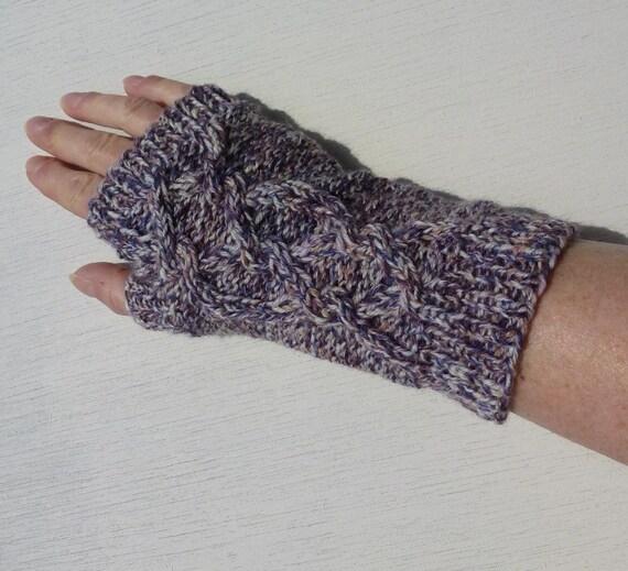 Knit Fingerless Gloves, Open Celtic Braid, Men and Women - Ecru, Purple, Redbrown, Eggplant
