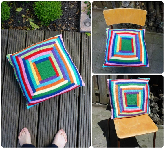 20 inch Pillow Case, Hand Knit Bright Stripe Pillow Cover - Rainbow colors, Red, Green, Blue, Yellow, Pink, Orange, Purple