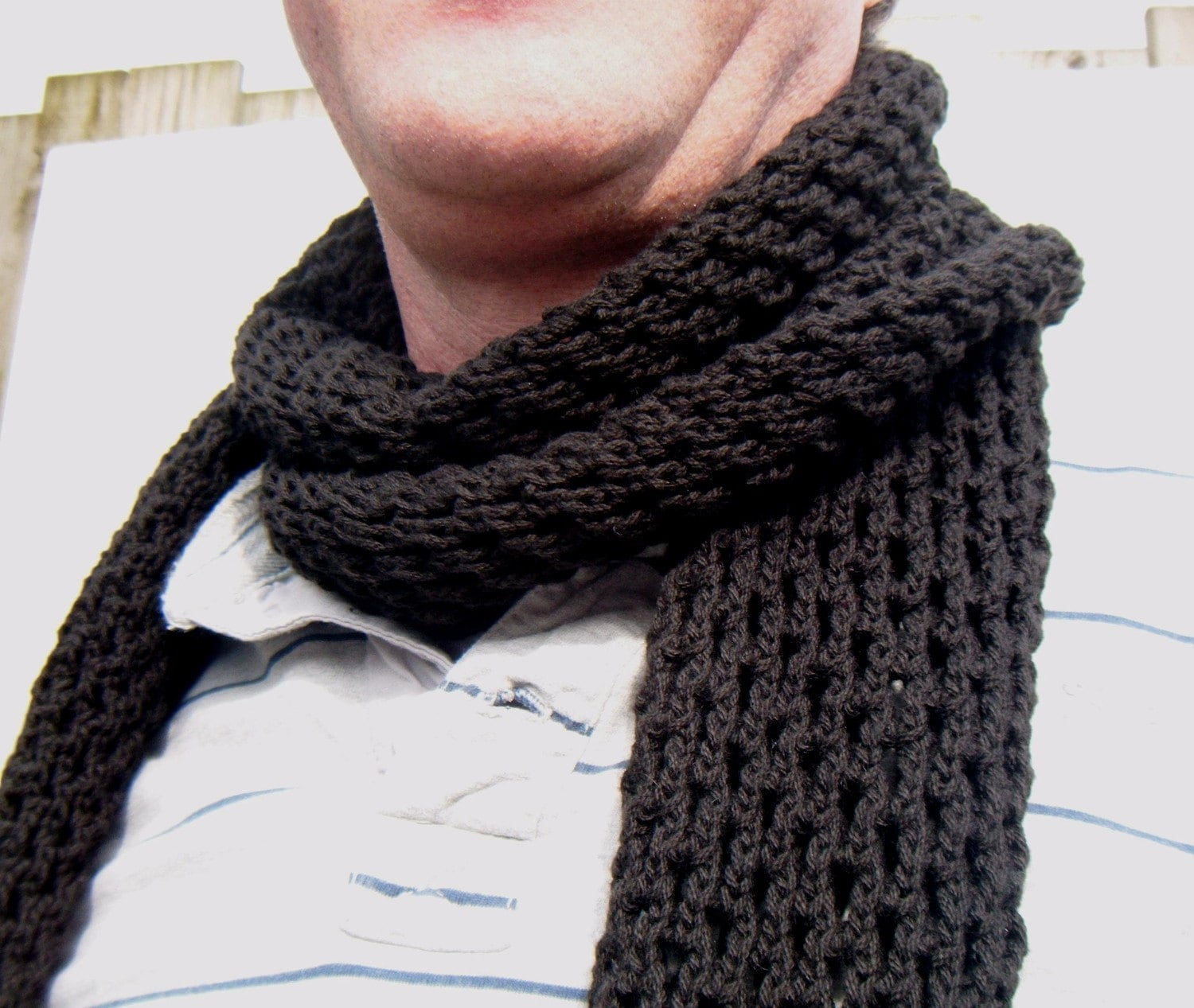 Knitting Scarf Patterns For Men : Mens Scarf Hand Knit Openwork Pattern Black Hole Scarf
