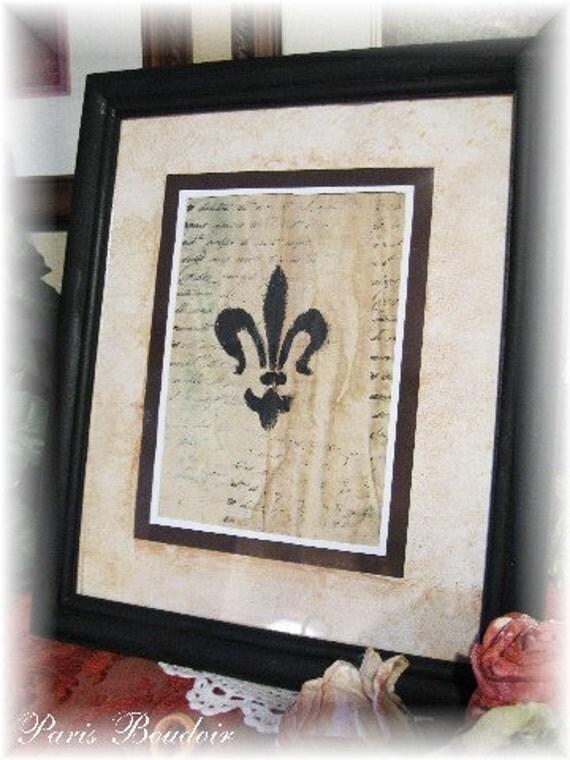Framed Fleur De Lis Shabby Paris Original Art Vintage