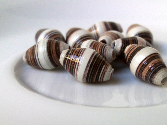 10 paper beads - white, brown -