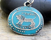 Silver and turquoise lion with sterling silver chain