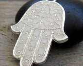 Change your luck  - White Hamsa with sterling silver chain