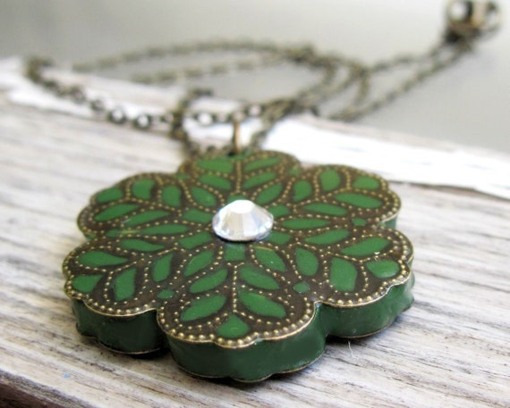 Olive green flower filigree pendant