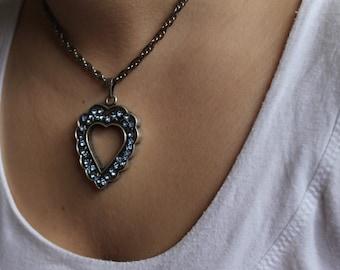 Blue Swaroski Cristal Heart Necklace,