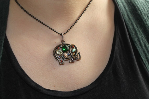 Swarosky Crystals and Cats Eye Beaded Elephant Necklace
