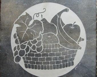 SALE 18x18 Etched Porcelain Fruit Basket Medallion