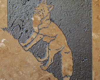 6x6 Red Fox - Etched Travertine StoneTile