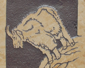6x6 Rocky Mountain Goat - Etched Travertine Decorative Tile