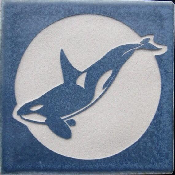 4x4 Orca Killer Whale Tile Coaster