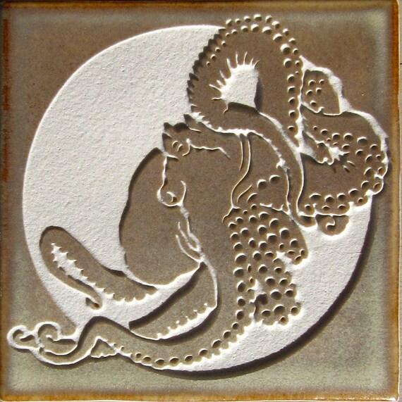 Giant Pacific Octopus- 4x4 Etched Porcelain Tile