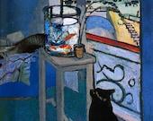 Henri Matisse Goldfish Print, Goldfish Art, Cat Art Print, Cat Artwork, Whimsical Art, Cat Wall Art, Deborah Julian