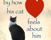 Boyfriend Gift, Husband Gift, Cat Crazy Man Card, Brother, Father, Cat Lover, Cat Artwork, Deborah Julian