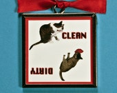 Clean Dirty Dishwasher Magnet- Cat Lover Gift
